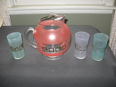 ATTRACTIVE MID-CENTURY 1 GALLON COLD DRINKS PITCHER w/ ICE LIP, 8-OUNCE GLASSES