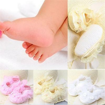 Hot Newborn Infant Girls Non-Slip Toddler Lace Baby Shoes Frilly Flower