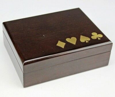 Vintage Wooden Playing Card Box with Velvet Lining