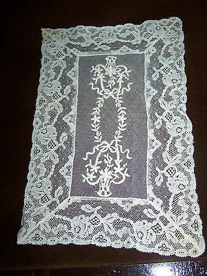 HAND MADE Antique Tambour LACE RUNNER Doily Victorian BASKET OF FLOWERS Design