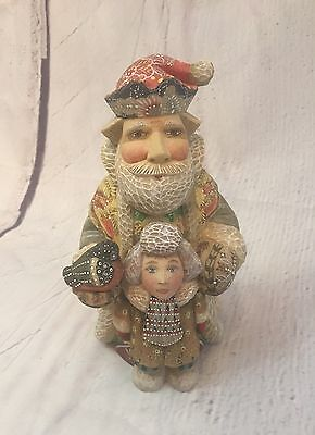 2004 LIMITED ED. NUMBERED SIGNED G.Debrekht FATHER CHRISTMAS W/ BOY RUSSIA A5