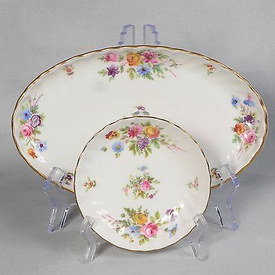 """2 Minton """"marlow"""" Pieces - 1 Oval Pickle Dish & 1 Coaster"""