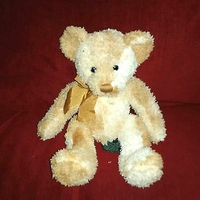 Russ Berrie FRASER Teddy Bear 10in Golden Ombre Soft Fuzzy Plush Gold Bow