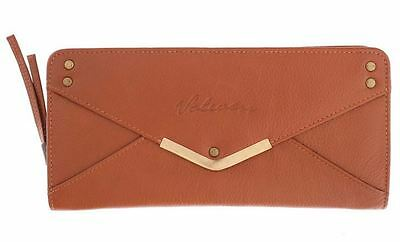 VOLCOM New Ladies Leather Purse Wallet Tan ENVELOPE