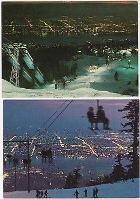 2 pcds: Skiers on Grouse Mountain, view of Vancouver BC