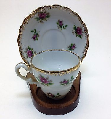 Vintage Cup and Saucer Small Roses Japan