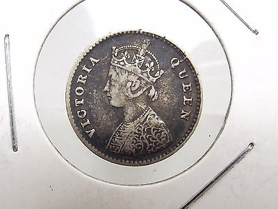 1862 British India Two ANNAS Queen Victoria Silver Coin Antique Free Shipping