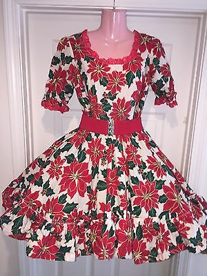 Square Dance 1 Pc Reduced Christmas Poinsettia Dress - Small