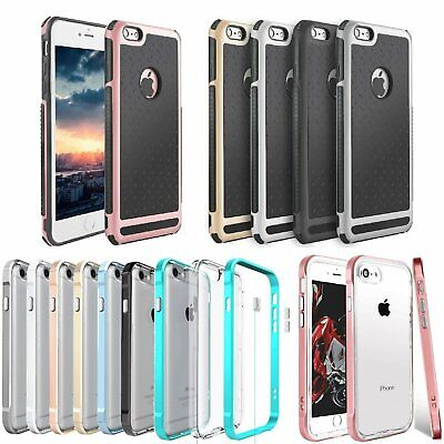 Shockproof Rubber Hybrid Hard Case Thin Cover For iPhone 6 Plus + Tempered Glass
