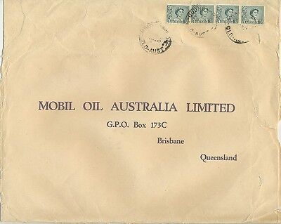 Stamps Australia 3d green QE2 coil strip & coil single on Mobil large cover