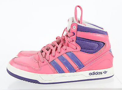 Adidas Pink Purple Lace Up Athletic Sport High Top Sneaker Shoes Sz 5.5