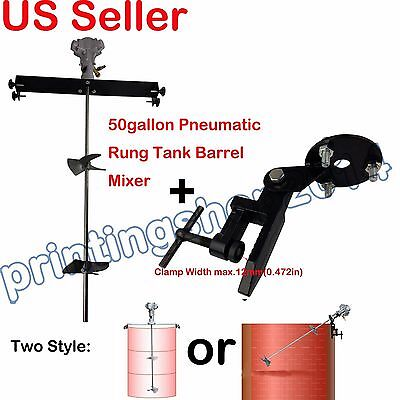 50gallon Pneumatic Rung Tank Barrel Mixer Aluminum Alloy Tank Dope+1pc clamp