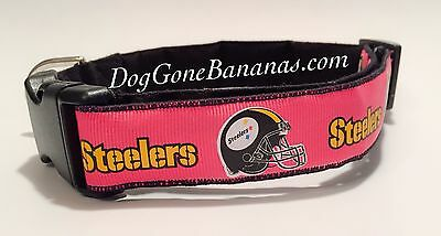 fad5fb6f31a Pittsburgh Steelers Hot Pink NFL Dog Collar, Cotton Blend, Handmade,  Washable