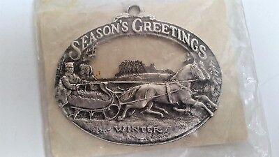 Pewter Currier & Ives Downs' Collectors Season's Greetings Christmas Ornament