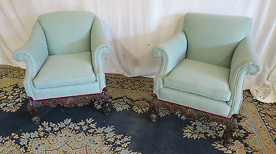 Pair French Mahogany Club Chairs Set Carved