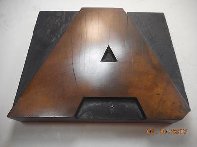Printing Letterpress Printers Block, Letter A Solid Wood Type, Antique