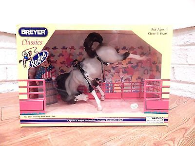 Breyer Classic Rodeo #6001 BUCKING BRONCO W/ CINCH - Gray Pinto Mustang