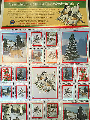 1986 National Wildlife Federation Christmas Stamps - Sheet of 36