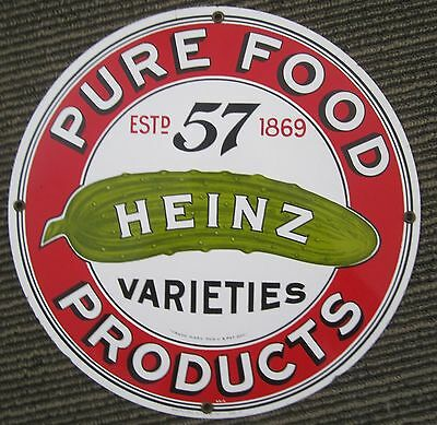 Vintage Porcelain Heinz Sign Kitchen Food Advertising Country Store Display