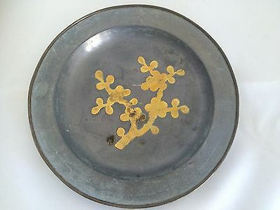 Metal Plate with Gold Cherry Blossom flowers