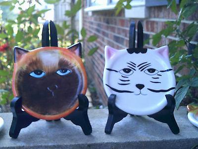 4 Cat Plates Coasters Faces Ceramic Clay Art Style from Band Wagon Calico Tabby