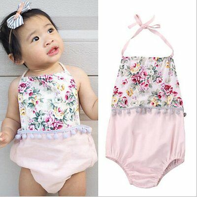 Newborn Baby Girls Kids Summer Sleeveless Floral Romper Jumpsuit Clothes Outfits