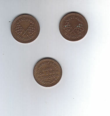 Coin Set of 3 Westwood Car Wash Tokens Coquitlam BC
