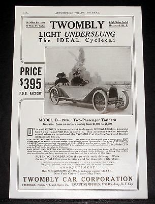 1914 Old Magazine Print Ad, The Twombly Light Underslung, The Ideal Cyclecar!
