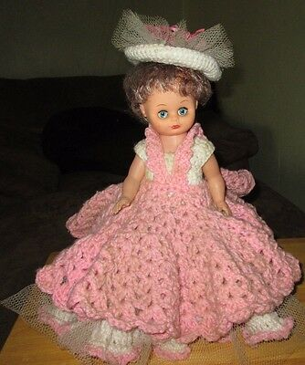 "Pink and white hand made doll 14"" high"