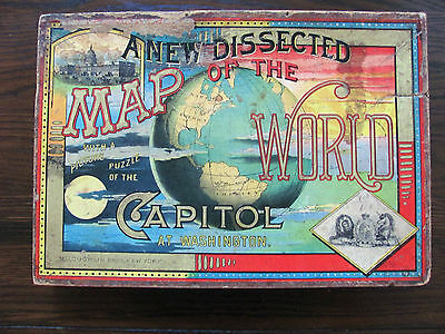 Antique 1888 Puzzle Capitol At Washington & Map Of The World – Mcloughlin Bros.