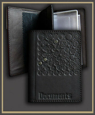 Black Genuine LEATHER Auto Documents  Passport COVER Drivers Licence HANDMADE 20