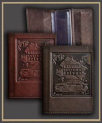Brown Genuine LEATHER Auto Documents  Passport COVER Drivers Licence HANDMADE 07