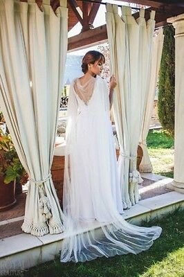ivory White flowing lace decal cloaks long cape shawl wedding dress cloak shrug