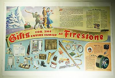 Vintage 1941 FIRESTONE TIRES & GIFTS Lg Magazine Print Ad CHRISTMAS