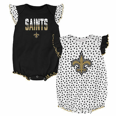 New Orleans Saints Baby Girl Polka Fan 2PK Team Creepers (FREE SHIPPING) 0-3 mo