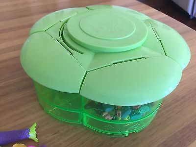 Bulk Lot 2 Polly Pocket Clothes, RARE  Green Storage Container, accessories