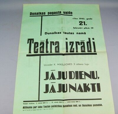 Ww2 Latvian Theater Poster Dated 1943 Year