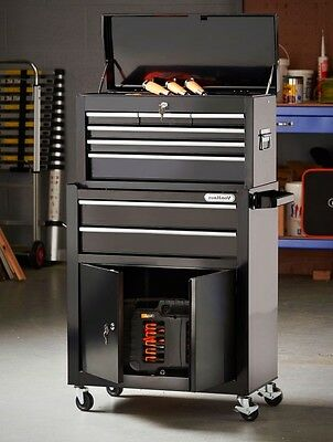 Black 2 in 1 Tool Chest and Cabinet with 6 Spacious Drawers Heavy Duty Lockable