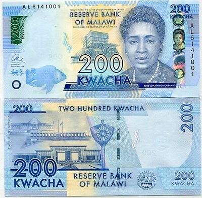 Malawi 200 Kwacha 2016 P New Blind Feature Unc