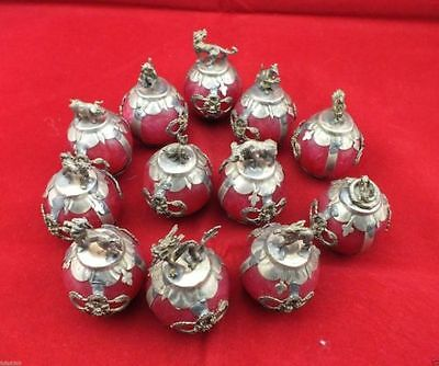 Chinese Tibetan silver Red Jade carving Zodiac statue collection 12pc 1