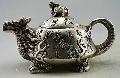 Collectible Old Handwork Silver Plate Copper Carved Dragon Tortoise Copy Tea Pot