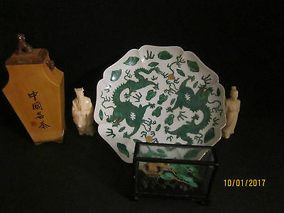 Lot/Konvolut Asiatika China/Japan Figuren,Teller,Deckeldose,Diorama (54)