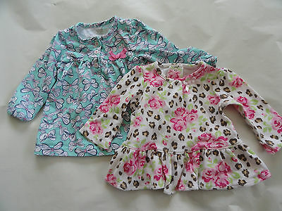 Girl's Long Sleeve Cotton Tops Size 6M 6 Months Lot of 2