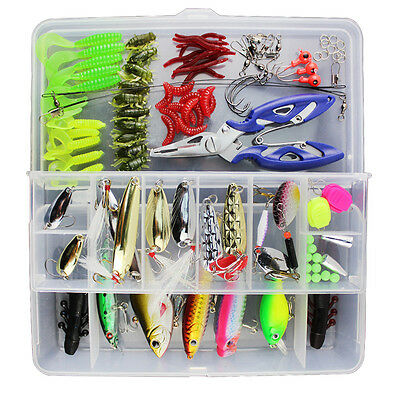 UK Fishing Lures Trout Bass Crank baits Kit Soft & Hard Lure Hooks 100pcs/Set