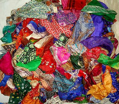 LOT PURE SILK Antique Vintage Sari Fabrics WEIGHT 100 GRAMS SIZES AS YOU #ABRXP