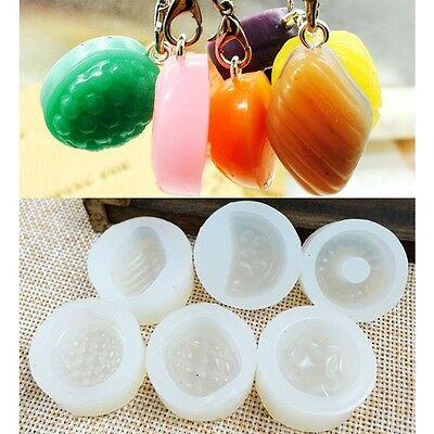 6× Silicone 3D DIY Fruits Pendant Mold Resin Casting Making Mould Jewelry Crafts