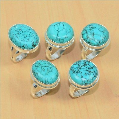 5 Pc Wholesale 925 Solid Sterling Silver Natural Turquoise Ring Lot
