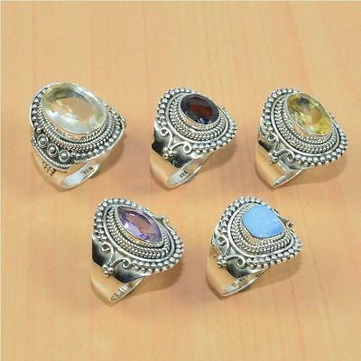 5Pc Wholesale 925 Solid Sterling Silver Natural Faceted Amethyst Ring Lot
