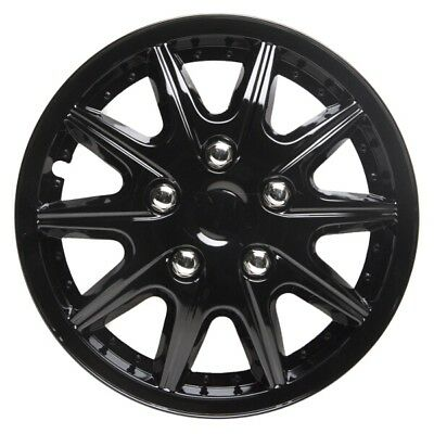 Revolution 15 Inch Wheel Trim Set Gloss Black Set of 4 Hub Caps Covers - TopTech