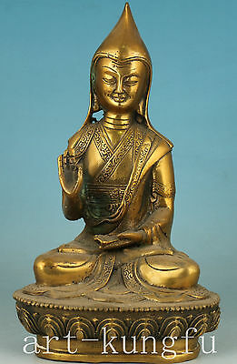 Tastefully Chinese Old Brass Collection Handmade Carved Buddha Statue Decoration